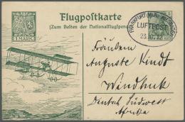 """Deutsch-Südwestafrika - Besonderheiten: 1912, Ganzsachenkarte """"NATIONALFLUGSPENDE"""" Mit Ovalstempel """"FRANKFURT (MAIN"""