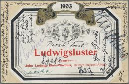 """Deutsch-Südwestafrika - Besonderheiten: 1905, """"LUDWIGSLUSTER...Klein Windhuk"""" Werbeaufkleber Rückseitig Auf Ga"""