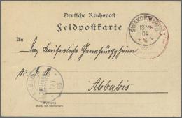 """Deutsch-Südwestafrika - Stempel: 1905, Feldpost-Karte Mit Rotem Adler-Militärstempel Und K1 """"SWAKOPMUND 18/9 0"""