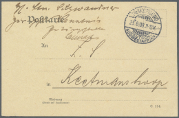 """Deutsch-Südwestafrika - Stempel: 1908: """"SWAKOPMUND 23.6.08"""" Gitterbrückenstempel Auf Portofreier Postkarte Der"""