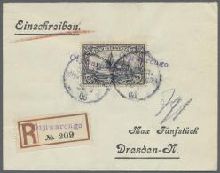"""Deutsch-Südwestafrika - Stempel: """"OTJIWARONGO 24.5.06"""", Wanderstempel Auf Philatelistischem R-Brief Mit 3 Mark Schi"""