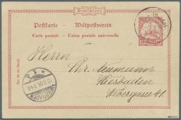 """Deutsch-Südwestafrika - Stempel: 1904, Wanderstempel """"Gochas"""" Auf Postkarte 10 Pf Schiffstype Nach Wiesbaden, Gepr."""