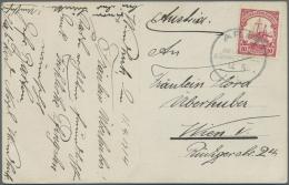 Deutsch-Südwestafrika - Stempel: 1915: 10 Pfennig Rot Schiffszeichnung Mit Gut Lesbarem K1 ARIS 14.5.14 Auf Portoge