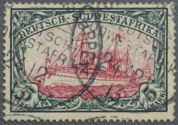 Deutsch-Südwestafrika: 1906, 5 Mark Kaiseryacht Als Gestempelter Einzelwert, Geprüft.