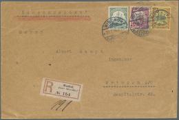 """Deutsch-Südwestafrika: 1914, 5, 10 Und 25 Pfennig Schiffszeichnung Auf R-Brief Mit Einschreibezettel No. 154 Aus """"W"""