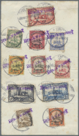 """Deutsch-Südwestafrika: 1901, Kaiserjacht Ohne Wasserzeichen 3 Pf. Bis 3 Mark Mit Wanderstempel """"Brackwasser"""" In Vio"""