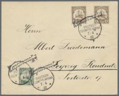 Deutsch-Südwestafrika: 3 Pfg. (2) U. 5 Pfg. Mit Wanderstempel KAPENOUSSEN (+100), Auf Sauberem Brief Nach Deutschla
