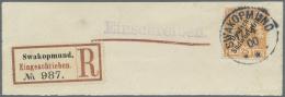 """Deutsch-Südwestafrika: 1900, 25 Pf Orange Auf R-Briefstück, Gestempelt """"SWAKOPMUND 17/4 00"""", FA Jäschke-L"""