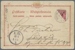 Deutsch-Südwestafrika: 10 Pfg. Halbierung Auf Litho-Ansichtskarte Nach Leipzig (Ankunft-Stempel). Marke Tadellos, K