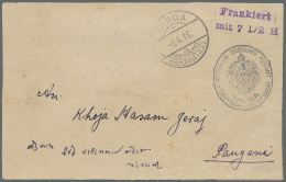 """Deutsch-Ostafrika - Ganzsachen: 1916, TANGA 8.4.16 (Brückenstempel  Mit Kleiner """"16"""") Und Violettem L2 """"Frankiert M"""