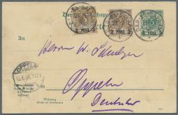 Deutsch-Ostafrika - Ganzsachen: 1896, DAR-ES-SALAAM 21.5. (K1) Auf P 3 Doppelkarte Mit 2x Mi 1 I Als Zusatzfrankatur Nac