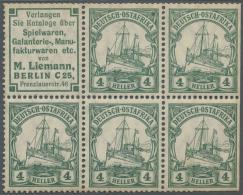 Deutsch-Ostafrika - Zusammendrucke: 1912, Reklame M. Liemann + 4 H. Kaiseryacht Im Heftchenblatt Mit 4 Weiteren Werten (
