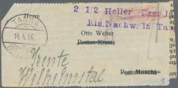 """Deutsch-Ostafrika: 1916, """"2 1/2 Heller Frei Laut Ein.Nachw. In Tanga"""" Violetter 2-Zeiler Als Barfreimachung Auf Adresstr"""