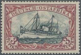Deutsch-Ostafrika: 1901, 3 R. Kaiseryacht, Mit Mittelstück Der Type I, Dunkelrot, Grünschwarz, Sehr Gut Gez&au