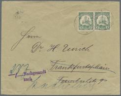 Deutsch-Ostafrika: 1901, Paar 3 P. Schiffszeichnung Auf Interessantem Nachsendebrief Ab SSONGEA über Frankfurt Nach
