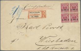 Deutsch-Ostafrika: 1896, DAR-ES-SALAAM, Dekorativ Mit 5 Pesa-Viererblock Frankierter R-Brief (Zettel Type 1) Zart Gestem