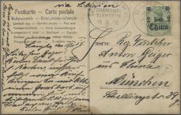 """Deutsche Post In China - Stempel: 1908, 2 C. Auf 5 Pfg. Grün Auf Fotokarte (""""Frau H.Funke Auf Pony"""") Geschrieben In"""
