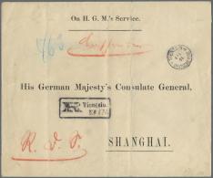 """Deutsche Post In China - Stempel: 1901, DIN A4 Grosser """"On H.G.M.s Servise""""-Vordruckumschlag Mit Adresse """"His German Maj"""