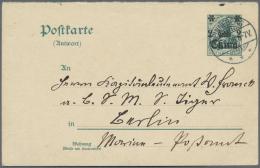 Deutsche Post In China - Ganzsachen: 1908: GS-Antwortteil Bedarfsgebraucht Von PINNEBERG 31.8.08 An SMS Tiger (auf Der O