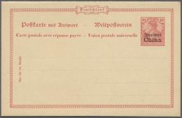 Deutsche Post In China - Ganzsachen: 1901, 10 Pfg. Germania Reichspost Mit Aufdruck, Doppelkarte, Probedruck (3. Und 4.