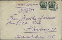 """Deutsche Post In China: 1914, 2 C. Auf 5 Pfg. Grün, Zwei Werte Auf Brief Ab """"SCHANGHAI B 22/4 14"""" Nach Hamburg Via"""