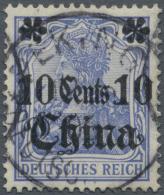 Deutsche Post In China: 1905, 10 C Auf 20 Pf Dkl.ultramarin Mit Aufdruckfehler: Linke Rosette Beschädigt, Sauber Ge