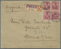 Deutsche Post In China: Germania Reichspost 10 Pfg. Im Viererblock Auf R-Brief Mit überdrucktem Feldpost-R-Zettel K