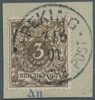 Deutsche Post In China: 1901, PETSCHILI Ausgabe, 3 Pfg Dunkelockerbraun Auf Ausschnitt Mit Vollem Stempel PEKING DEUTSCH