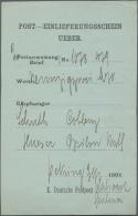 """Deutsche Post In China: 1901, CHINA/BOXERAUFSTAND: Post-Einlieferungsschein (Vordruck) Mit L1 """"K. Deutsche Feldpost.."""" F"""