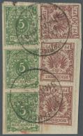 Deutsche Post In China - Vorläufer: 1891, 5 Pfg. Gelblichgrün Im Senkrechten 3er-Streifen (unterer Wert Mit Za