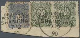 """Deutsche Post In China - Vorläufer: 1886-89 DR 50 Pfennig Dunkeloliv Mit """"fehlender Spitzenausfüllung Oben"""" Zu"""