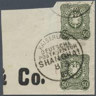 Deutsche Post In China - Vorläufer: 50 Pfg. Dunkelgraugrün Im Zwischenstegpaar Auf Briefstück. Sehr Selte