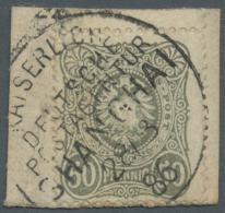 """Deutsche Post In China - Vorläufer: 1886: 50 Pfg Graugrün Mit ERSTTAGSENTWERTUNG """"KAISERLICH DEUTSCHE POSTAGEN"""