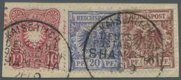 Deutsche Post In China - Vorläufer: Sehr Seltene 3-Farben-Frankatur Auf Ausschnitt Aus übergewichtigem Brief M