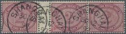 Deutsche Post In China - Vorläufer: 1897. 2 Mk Dunkelrotkarmin Im Sehr Seltenen Zwischenstegdreierstreifen (Felder