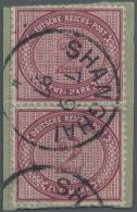 Deutsche Post In China - Vorläufer: 1897,  2 X 2 Mark Dkl'rotkarmin Innendienst, Senkrecht Auf Paketkartenabschnitt