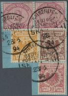 Deutsche Post In China - Vorläufer: 2 Mk. (2) U. Krone/Adler 10,25 U. 50 Pfg. Auf Postanweisungsabschnitt