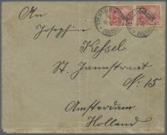 """Deutsche Post In China: 1900, 10 Pfg. Germania Mit Handstempelaufdruck, Senkrechtes Paar Mit Stempel """"TIENTSIN DP *a 11."""