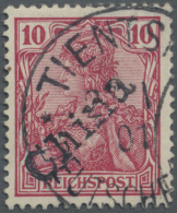 """Deutsche Post In China: 1900, 10 Pfg. Reichspost Mit Handstempel, Sauber Gestempelt """"TIENTSIN 27.1.01"""" (ohne Bindestrich"""