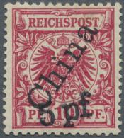 Deutsche Post In China: 1900, 5 Pf Auf 10 Pfg. Krone/Adler Mit Steilem Aufdruck, Sauber Ungebraucht, Mehrfach Signiert,