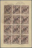 """Deutsche Post In China: 1900, """"Feldtelegramm"""", Komplett Erhalten, Tadellose Qualität, Frankiert Mit 12 X 50 Pfg. Li"""