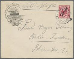 Deutsche Post In China: 1900, 10 Pfg. Krone/Adler Mit Steilem Aufdruck Dunkelrosarot (gelblich Orange Quarzend) Als Einz
