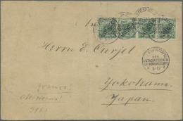 Deutsche Post In China: 1900, 5 Pfg. Grün Steiler Aufdruck, Waagerechter 4er-Streifen Als 20 Pfg.-Frankatur Auf Por