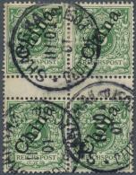 Deutsche Post In China: 5 Pfg., 2 Zwischenstegpaare Als Dekoratives Blockstück, Gepr.