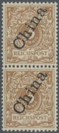 Deutsche Post In China: 1902, Krone/Adler 3 Pf Hellockerbraun Mit Steilem Aufdruck, Postfrisches Senkrechtes Paar, Signi