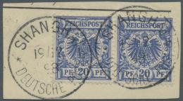 Deutsche Post In China - Mitläufer: 1898. 20 Pfg Violettultramarin. Waagerechtes Paar, Mit Dem Sehr Seltenen Stempe