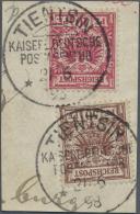 """Deutsche Post In China - Mitläufer: 1898. Mitläufer 10 Pf Und 50 Pf Auf Briefstück Mit Stempel """"Tientsin"""