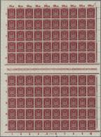 Deutsches Reich - Inflation: Flug 2 Mk. UNTERDRUCK ÜBER DER MARKENFARBE. Sehr Seltener Bogen Mit 10 Zwischenstegen.