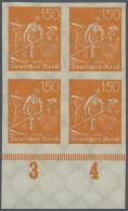Deutsches Reich - Inflation: 1922, Pflüger 150 Pf Als UNGEZÄHNTER Viererblock Vom Bogenunterrand, Postfrisch,