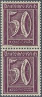 Deutsches Reich - Inflation: 50 Pfg. Ziffer Im Senkrechten Paar, Untere Marke Mit Rahmenbruch Oben, Der Sich In Einer Be